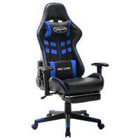 vidaXL Fotel dla gracza z podnóżkiem, czarno-niebieski, sztuczna skóra