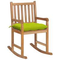 vidaXL Fotel bujany z jasnozieloną poduszką, lite drewno tekowe