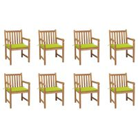 vidaXL Krzesła ogrodowe 8 szt., z jasnozielonymi poduszkami, tekowe