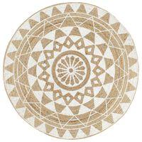 vidaXL Ręcznie wykonany dywanik, juta, biały nadruk, 150 cm