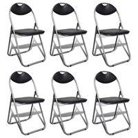vidaXL Składane krzesła stołowe, 6 szt., czarne, sztuczna skóra i stal