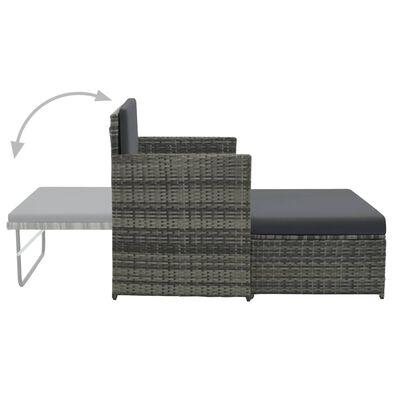 vidaXL 2-cz. zestaw wypoczynkowy do ogrodu, poduszki, rattan PE szary