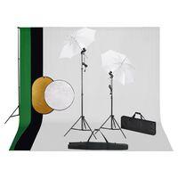 vidaXL Zestaw studyjny z lampami, parasolkami, tłami i blendami