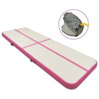 vidaXL Mata gimnastyczna z pompką, 400x100x15 cm, PVC, różowa