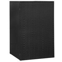 vidaXL Osłona na kosz na śmieci, czarna, 76x78x120 cm, rattan PE