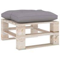 vidaXL Ogrodowy stołek z palet z szarą poduszką, drewno sosnowe