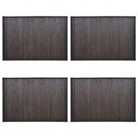 vidaXL Bambusowe maty łazienkowe, 4 szt., 40x50 cm, ciemnobrązowe