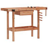 vidaXL Stolarski stół warsztatowy z szufladą i 2 imadłami, drewniany