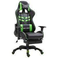 vidaXL Fotel dla gracza z podnóżkiem, zielony, sztuczna skóra