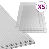 vidaXL Płyty poliwęglanowe, 5 szt., 4,5 mm, 150x65 cm