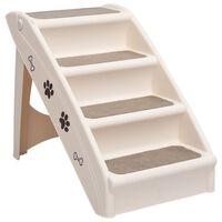 vidaXL Składane schodki dla psa, kremowe, 62 x 40 x 49,5 cm