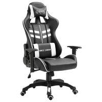 vidaXL Fotel dla gracza, biały, sztuczna skóra