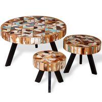 vidaXL Zestaw trzech stolików kawowych z drewna odzyskanego