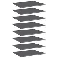 vidaXL Półki na książki, 8 szt., wysoki połysk, szare, 60x50x1,5 cm