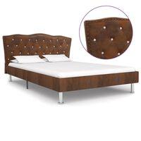 vidaXL Rama łóżka, brązowa, sztuczna skóra zamszowa, 140 x 200 cm