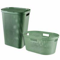 Curver Kosz i koszyk na pranie Infinity, 2 szt., 40L+60L, zielony