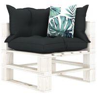 vidaXL Ogrodowe siedzisko narożne z palet, z poduszkami w 2 kolorach