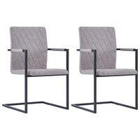 vidaXL Krzesła stołowe, 2 szt., wspornikowe, jasnoszare, ekoskóra