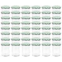 vidaXL Szklane słoiki na dżem, biało-zielone pokrywki, 48 szt., 400 ml