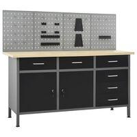 vidaXL Stół roboczy z 4 panelami ściennymi