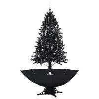 vidaXL Choinka sypiąca śniegiem, podstawa parasolowa, czarna, 190 cm