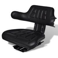 vidaXL Fotel do ciągnika z oparciem, czarny