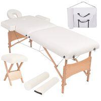 vidaXL Składany, dwuczęściowy stół do masażu ze stołkiem, biały