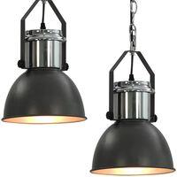 vidaXL Lampy sufitowe, 2 szt., szare, okrągłe, E27