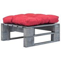 vidaXL Ogrodowe siedzisko z palet, czerwona poduszka, szare drewno