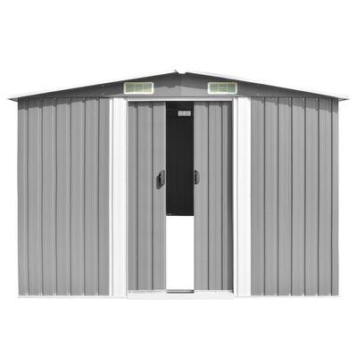 vidaXL Szopa ogrodowa, 257x580x181 cm, metal, szara
