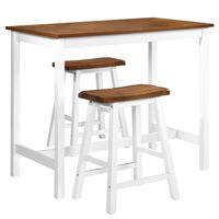 vidaXL Stolik i krzesła barowe, 3 elementy, drewno