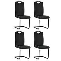 vidaXL Krzesła stołowe, wspornikowe, 4 szt., czarne, sztuczna skóra