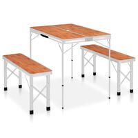 vidaXL Składany stolik turystyczny z 2 ławkami, aluminium, brązowy