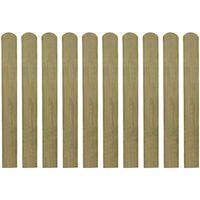 vidaXL Impregnowane sztachety, 10 szt., drewno, 80 cm
