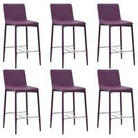 vidaXL Krzesła barowe, 6 szt., fioletowe, sztuczna skóra