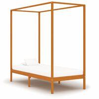 vidaXL Rama łóżka z baldachimem, miodowy brąz, lita sosna, 100x200 cm