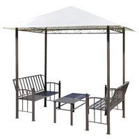 vidaXL Zadaszenie ogrodowe ze stołem i ławkami; 2,5 x 1,5 x 2,4 m