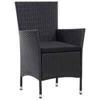 vidaXL Krzesła ogrodowe, 2 szt., czarne, polirattanowe