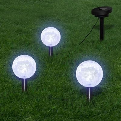 vidaXL Lampy ogrodowe ze szpikulcami i panelem solarnym, 3 LED
