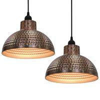 vidaXL Lampy sufitowe, 2 szt., półkuliste, kolor miedzi