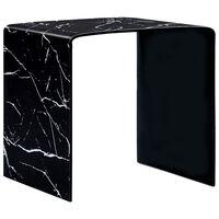 vidaXL Stolik kawowy, czarny, marmurkowy, 50x50x45 cm, szkło hartowane