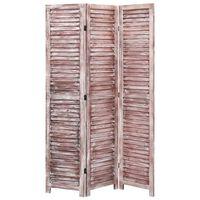 vidaXL Parawan 3-panelowy, brązowy, 105 x 165 cm, drewniany