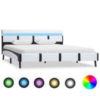 vidaXL Rama łóżka z LED, biała, sztuczna skóra, 160 x 200 cm