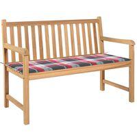 vidaXL Ławka ogrodowa z poduszką w czerwoną kratę, 120 cm, tek
