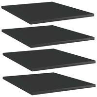 vidaXL Półki na książki, 4 szt., wysoki połysk, czarne, 40x50x1,5 cm