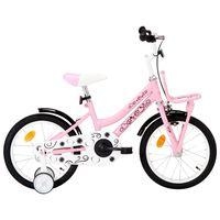 vidaXL Rower dla dzieci z bagażnikiem, 16 cali, biało-różowy