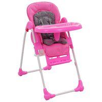 vidaXL Krzesełko do karmienia dzieci, różowo-szare