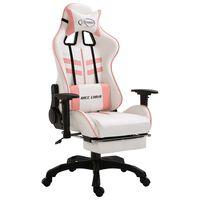 vidaXL Fotel dla gracza z podnóżkiem, różowy, sztuczna skóra
