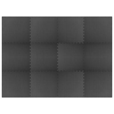vidaXL Maty podłogowe, 12 szt., 4,32 ㎡, pianka EVA, czarne