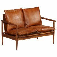 vidaXL 2-osobowa sofa z prawdziwej skóry i drewna akacjowego, brązowa